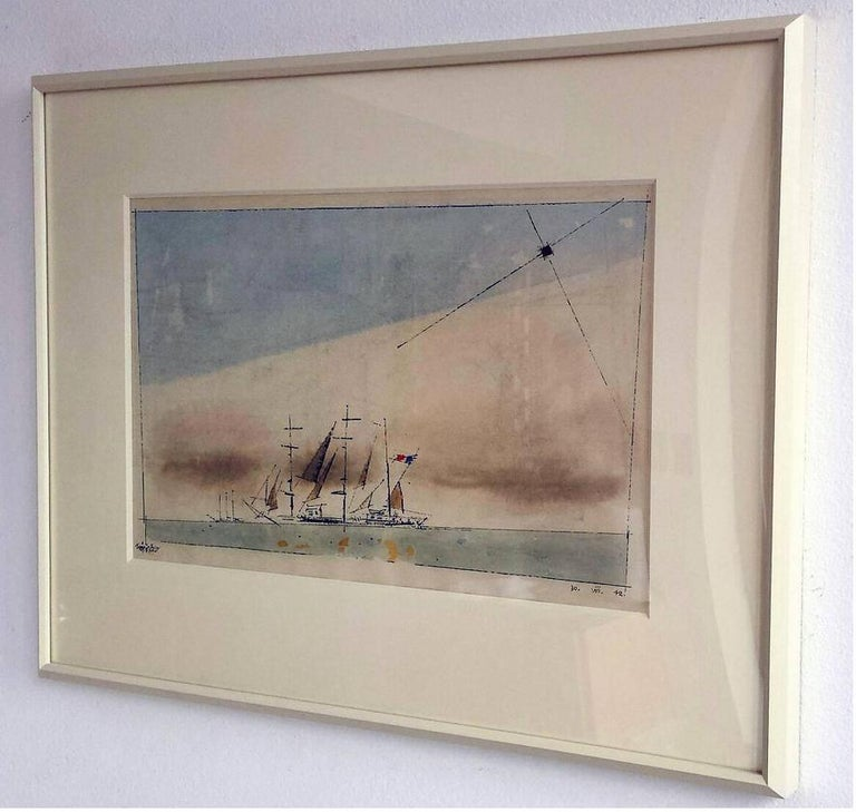 Bauhaus .  Untitled (French Barque under Staysail) - Expressionist Art by Lyonel Feininger