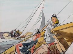 Handsome Couple in Sailboat - Collier's Magazine Illustration