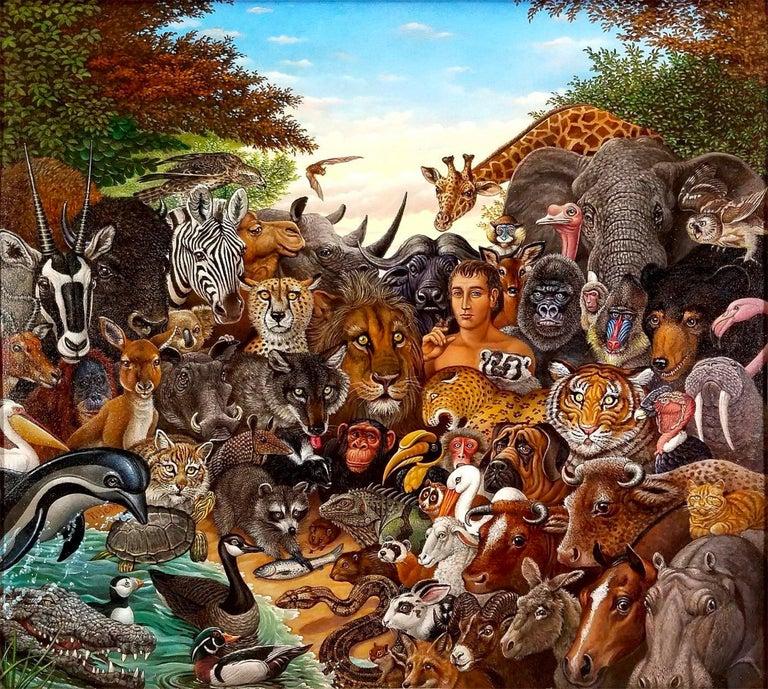Richard Hess Animal Painting - Animal Kingdom, Zebra, Buffalo, Lion, Giraffe, Elephant, Monkey, Tiger,  Gorilla