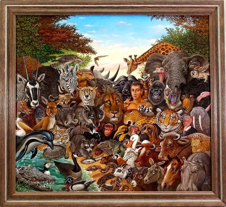 Animal Kingdom, Zebra, Buffalo, Lion, Giraffe, Elephant, Monkey, Tiger,  Gorilla - Painting by Richard Hess