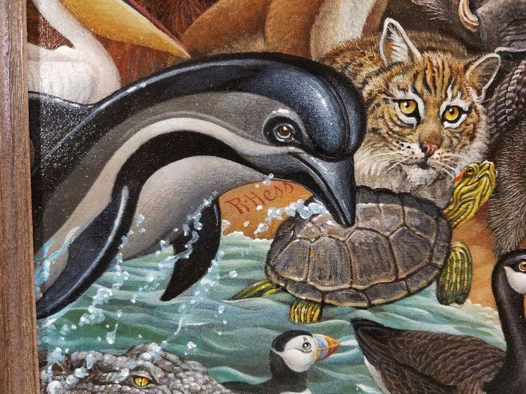 Animal Kingdom, Zebra, Buffalo, Lion, Giraffe, Elephant, Monkey, Tiger,  Gorilla - Surrealist Painting by Richard Hess