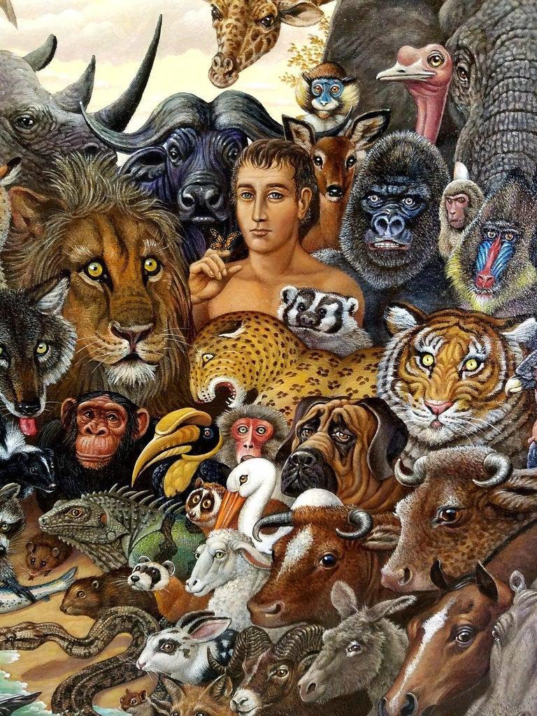 Animal Kingdom, Zebra, Buffalo, Lion, Giraffe, Elephant, Monkey, Tiger,  Gorilla - Brown Animal Painting by Richard Hess