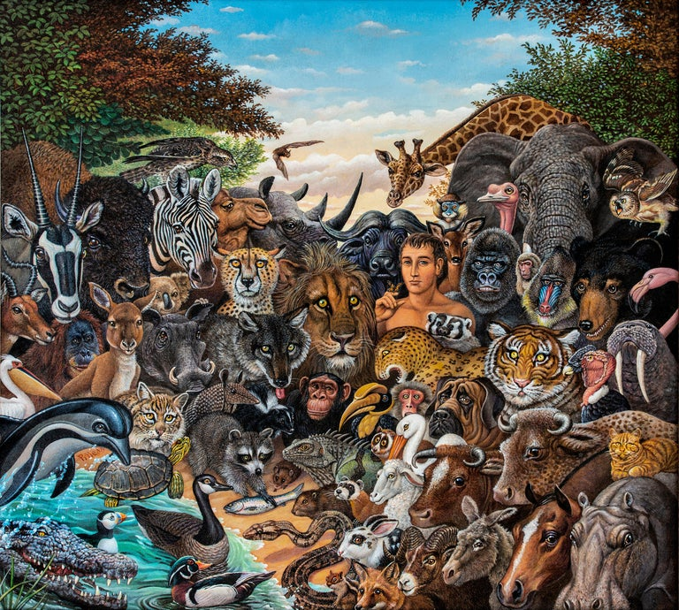 Peaceable Kingdom features more than 60 aminal portraits by famous illustrator Richard C. Hess.  Impeccably rendered and designed.  Signed lower center left. R. Hess.  His illustrations appeared on the covers of His illustrations appeared on the