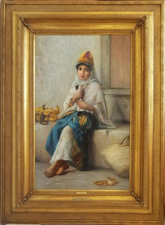 Petite Marchande de Banane - Orientalist, North African Girl Selling Bananas