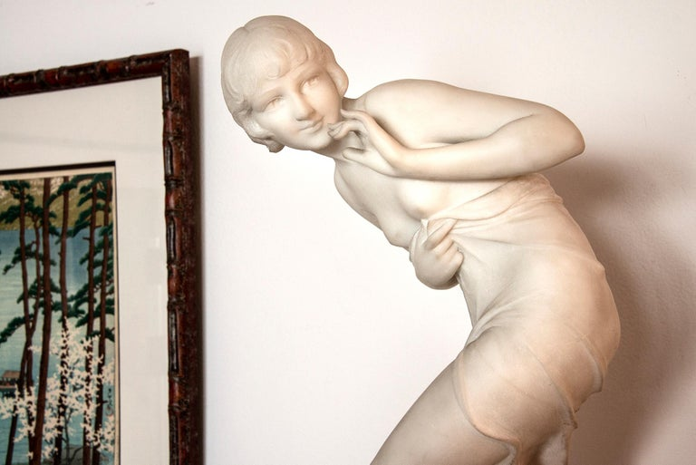 Art Deco FemaleNude - Gray Nude Sculpture by C. Viviani