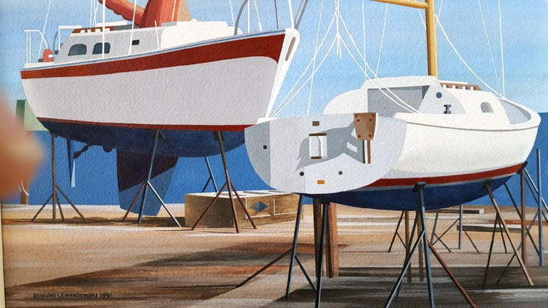 Sail Boats - Gray Landscape Art by Edmund Lewandowski