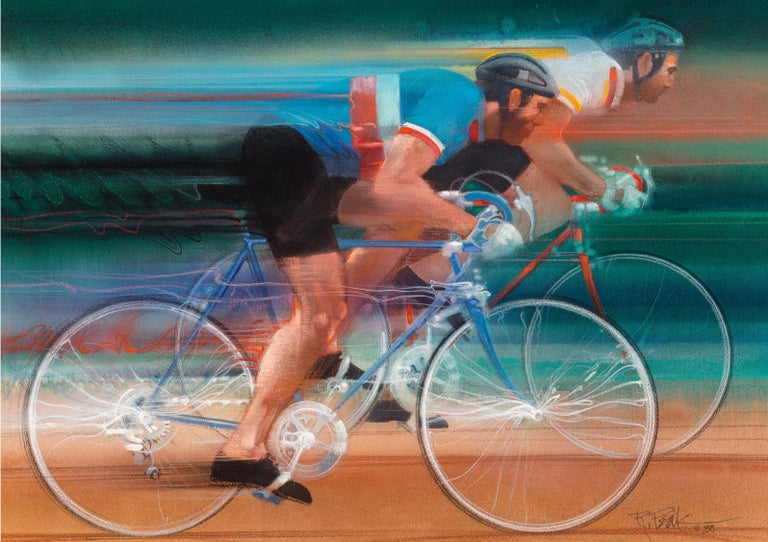 Bob Peak Figurative Painting - Cycling. Two men  Sports Racing on Bicycles