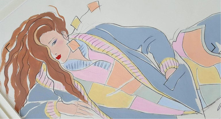 Antonio Lopez Figurative Art - Art Deco Style Fashion Illustration for High Fashion Magazine,  Vogue Magazine?