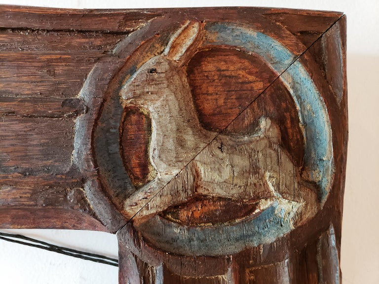 Carved Oak Wood Arts and Crafts Frame with Rabbit, Dog, Bird, Emu Carvings - Sculpture by Anna  Vaughn Hyatt Huntington