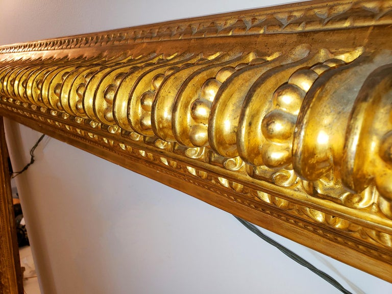 19th century Italian Rococo Gilt Wood Picture frame with ornate foliate. For Sale 8