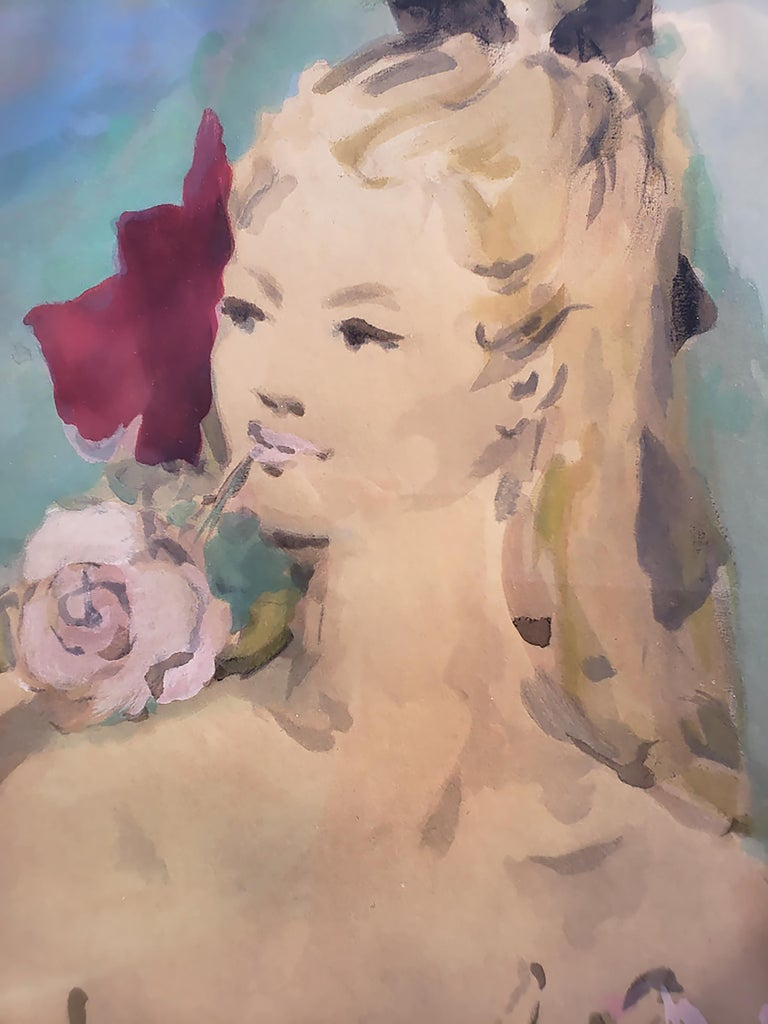 Beautiful Girl with Rose in her Mouth ( House of Heydenryk Frame) ( Pair) 3
