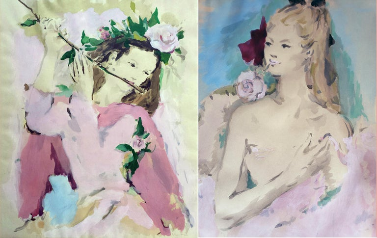 Beautiful Girl with Rose in her Mouth ( House of Heydenryk Frame) ( Pair) 7