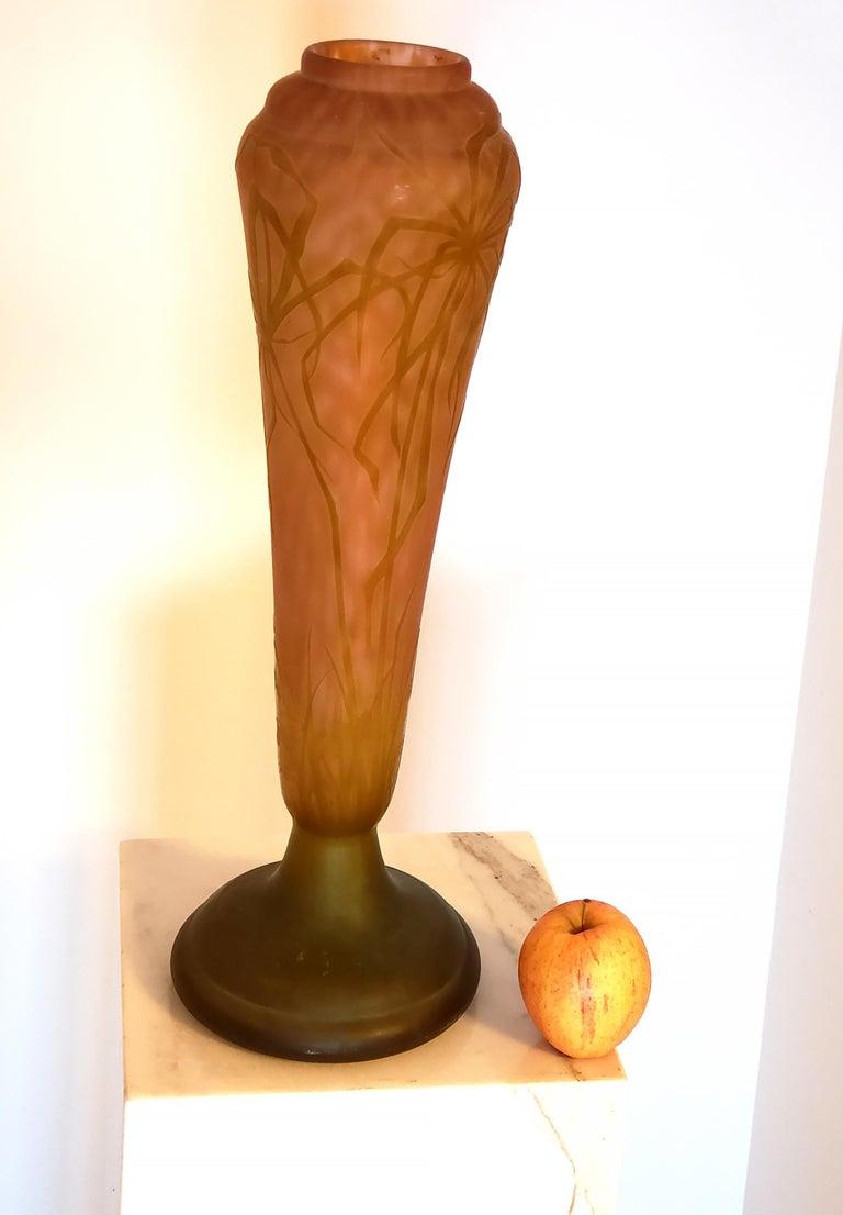 Daum Nancy Vase Art Nouveau Cameo French Art Glass 20.5 inches For Sale 1