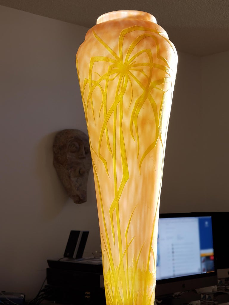 Daum Nancy Vase Art Nouveau Cameo French Art Glass 20.5 inches For Sale 3