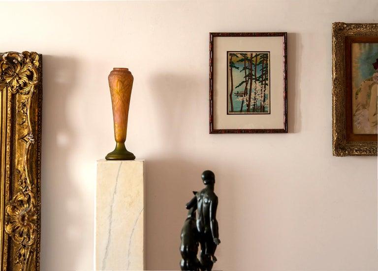 Daum Nancy Vase Art Nouveau Cameo French Art Glass 20.5 inches - White Still-Life Sculpture by Daum Nancy