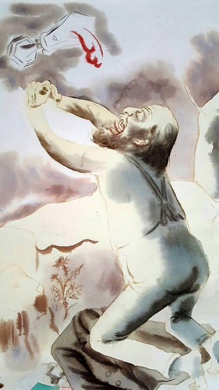 Christus am Oelberg - Christ on the Mount of Olives - Beige Figurative Art by George Grosz