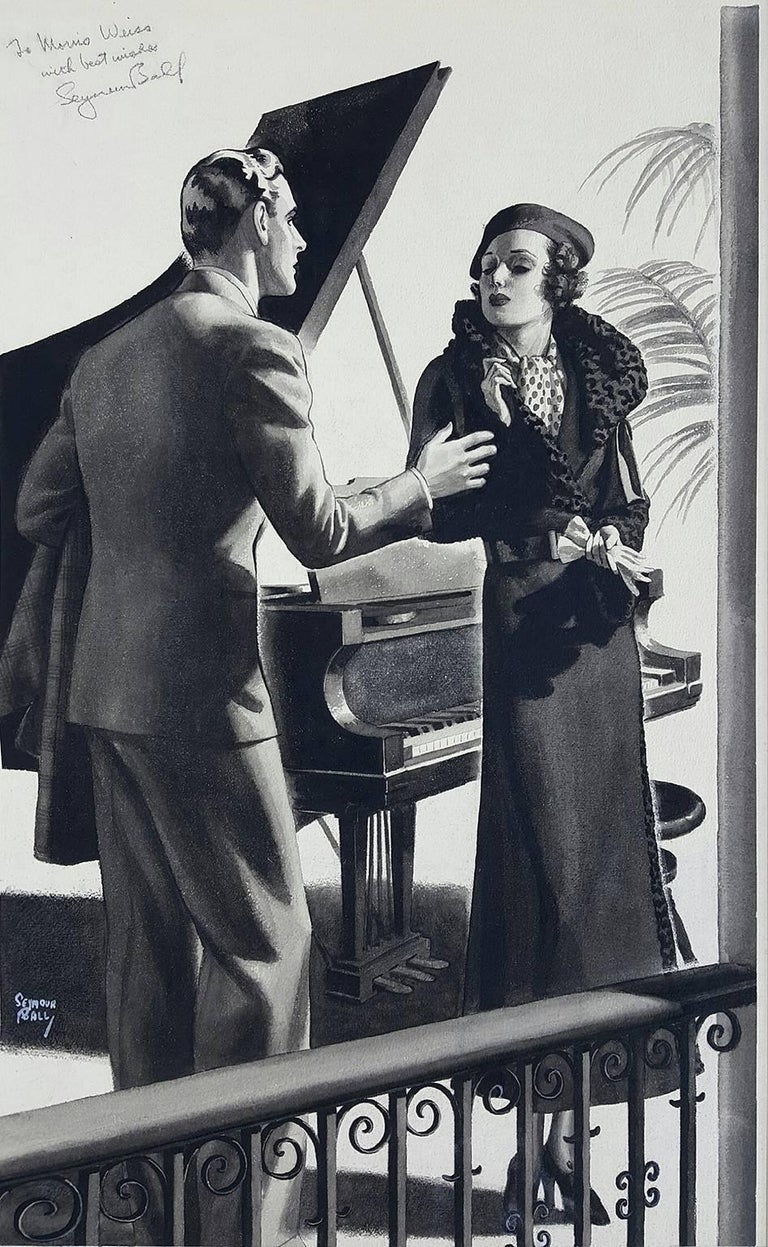 Seymour Alling Ball Figurative Painting - Art Deco Coulple Magazine Story Illustration, RedBook  The Saturday Evening Post