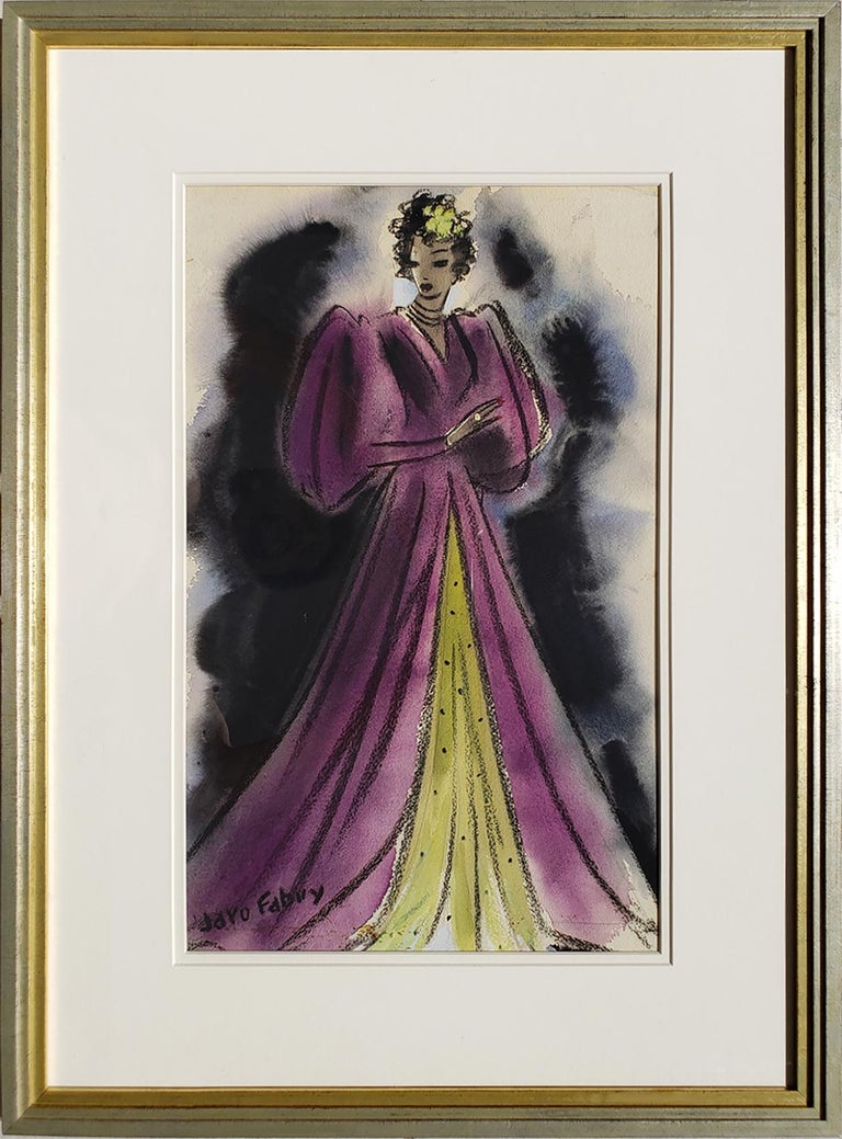 Art Deco Glamorous woman in Purple Evening Dress  - Golden Age of Hollywood - Gray Figurative Art by Jaro Fabry