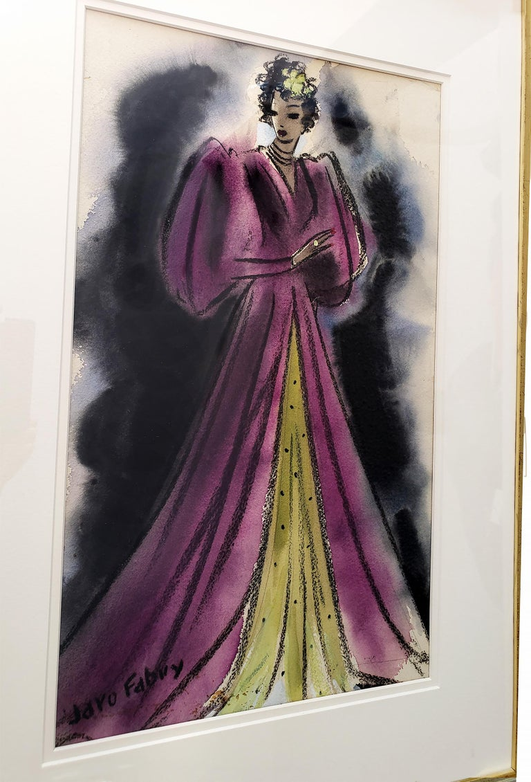 Art Deco Glamorous woman in Purple Evening Dress  - Golden Age of Hollywood For Sale 1