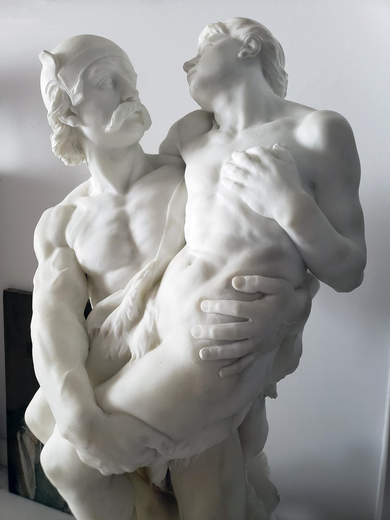 William John Seward Webber Nude Sculpture - Warrior and Wounded Youth.  Helmeted mustachioed man holding Wounded - Lion Face