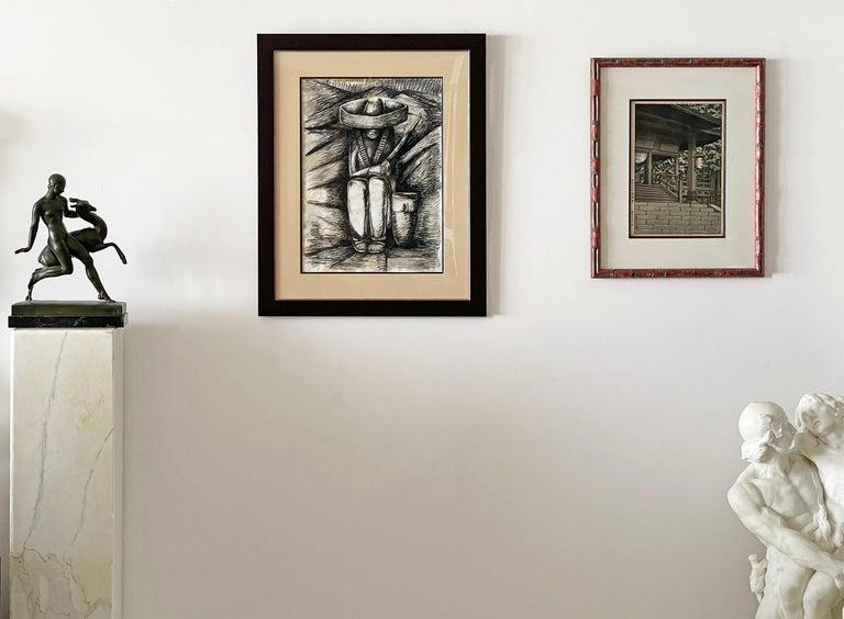 Zapatista Asentado - Brown Abstract Drawing by Alfredo Ramos Martinez