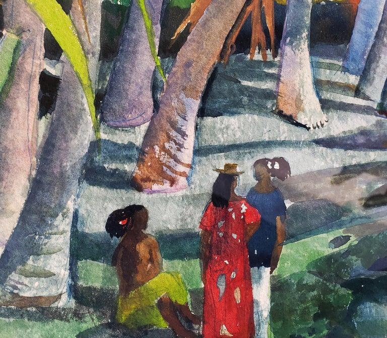 Pool Shadows - like Paul Gauguin Tahitian Women - Painting by Millard Sheets