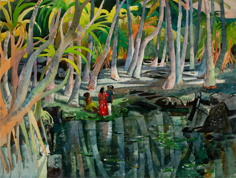Millard Sheets Landscape Painting - Pool Shadows - like Paul Gauguin Tahitian Women