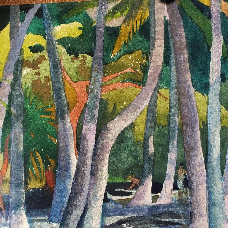 Pool Shadows - like Paul Gauguin Tahitian Women - Post-Impressionist Painting by Millard Sheets