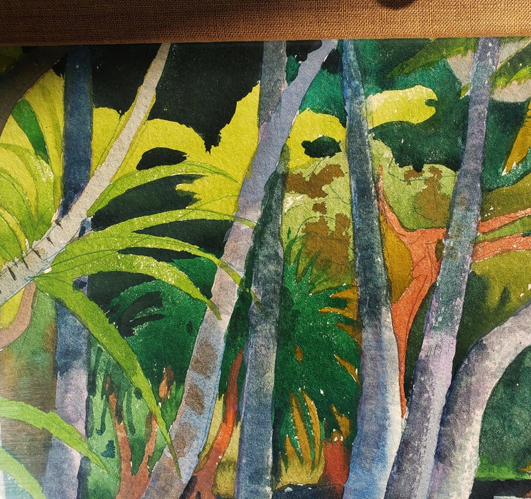 Pool Shadows - like Paul Gauguin Tahitian Women - Black Landscape Painting by Millard Sheets