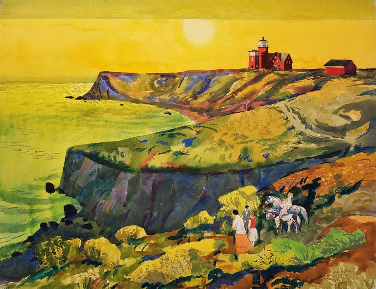 Millard Sheets Animal Art - Summertime - Martha's Vineyard  - Sunset Golden Sky and Red Lighthouse