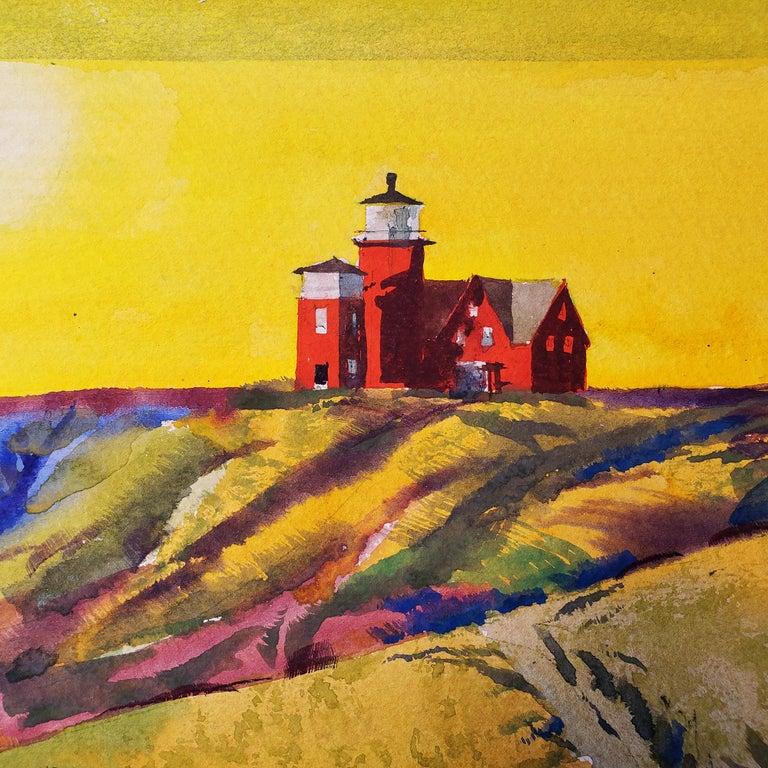 Summertime - Martha's Vineyard  - Sunset Golden Sky and Red Lighthouse  - Art by Millard Sheets