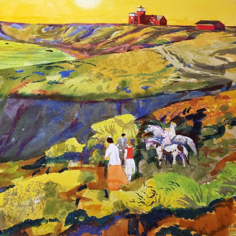 Summertime - Martha's Vineyard  - Sunset Golden Sky and Red Lighthouse  - Post-Impressionist Art by Millard Sheets