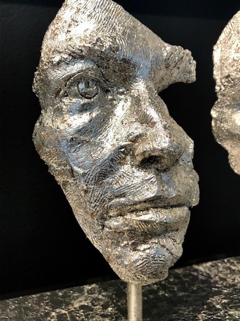 Losing Myself In You (Platinum Leaf) - Gold Figurative Sculpture by Boky Hackel-Ward