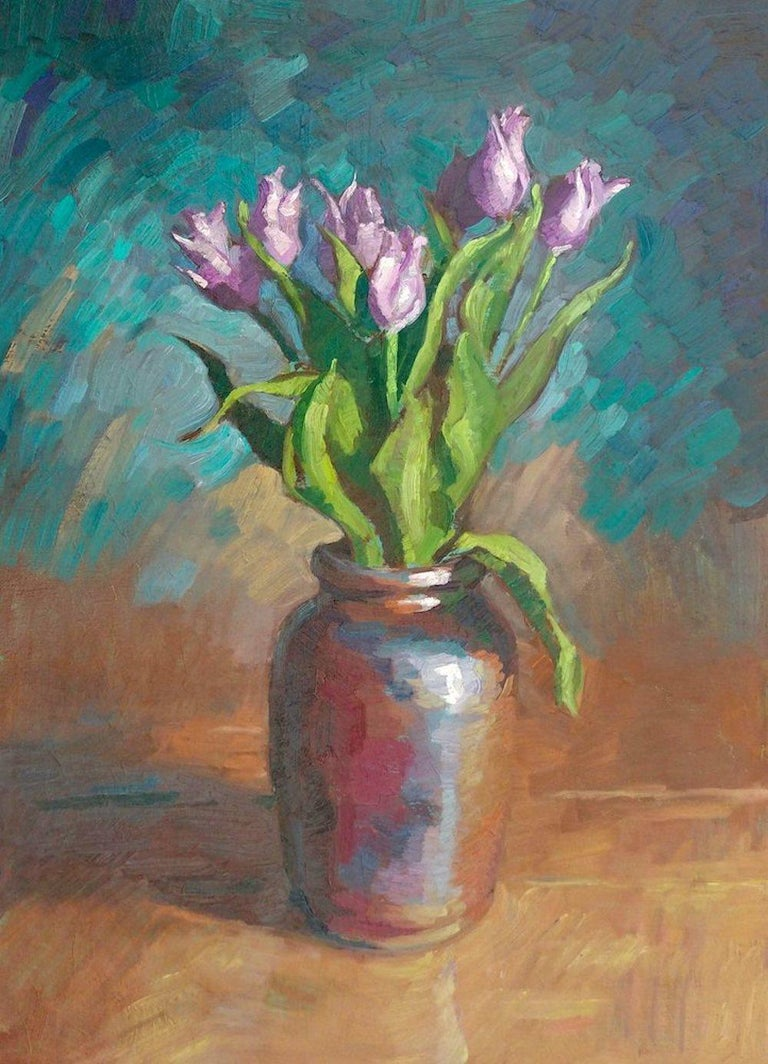 Tim McGuire Still-Life Painting - Tulips in Brown Vase