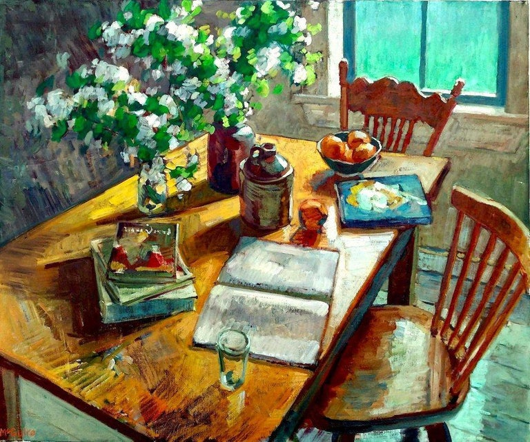 Tim McGuire Still-Life Painting - Blossoms and Books