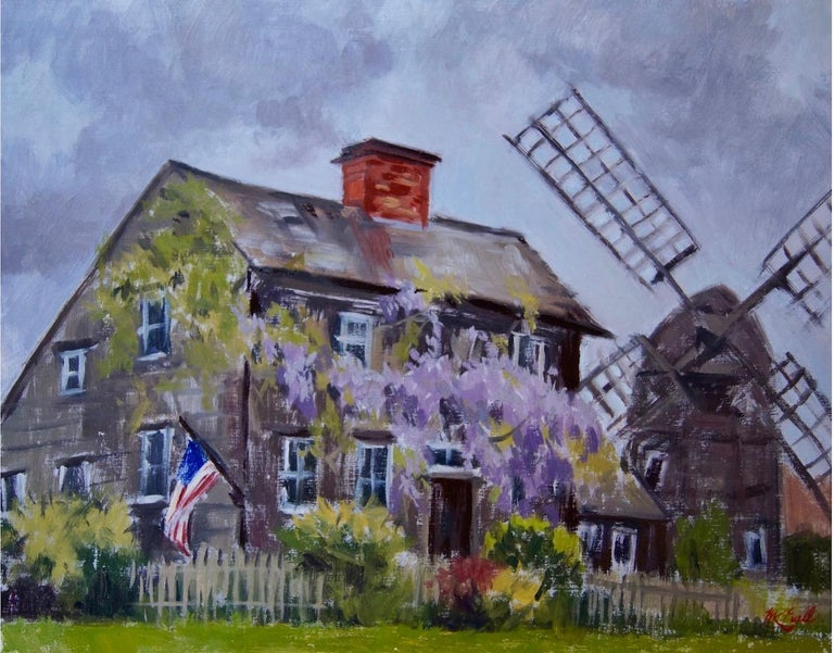 Painted from life, en plein air, in East Hampton, NY. A classic wood-shingled farm house, accented by moss and ivy, a lilac bush cascades across the facade. A windmill stands to the right.  Megan is a classically trained painter from Southampton,