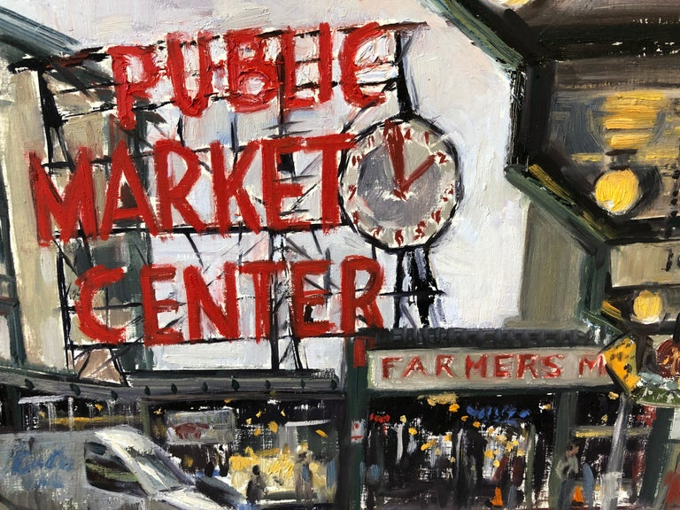 Pike Place Market - American Impressionist Painting by Megan Euell
