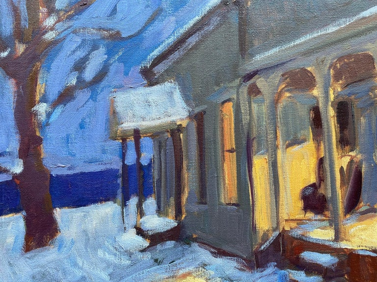 An oil painting of an illuminated house at night. A traditional front porch guides our eye through this exterior nocturne. The effects of light and shadow cast colorful highlights all around, in McGuire's stylized depiction of reality.   Tim McGuire