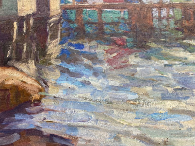 Harbour Evening (Hunts Point)  - Gray Landscape Painting by Tim McGuire