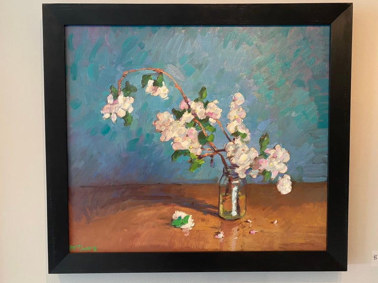 Apple Blossoms in Small Jar - Painting by Tim McGuire