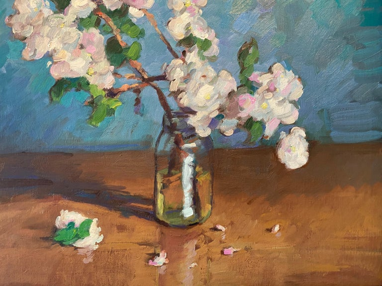 Apple Blossoms in Small Jar - Gray Still-Life Painting by Tim McGuire