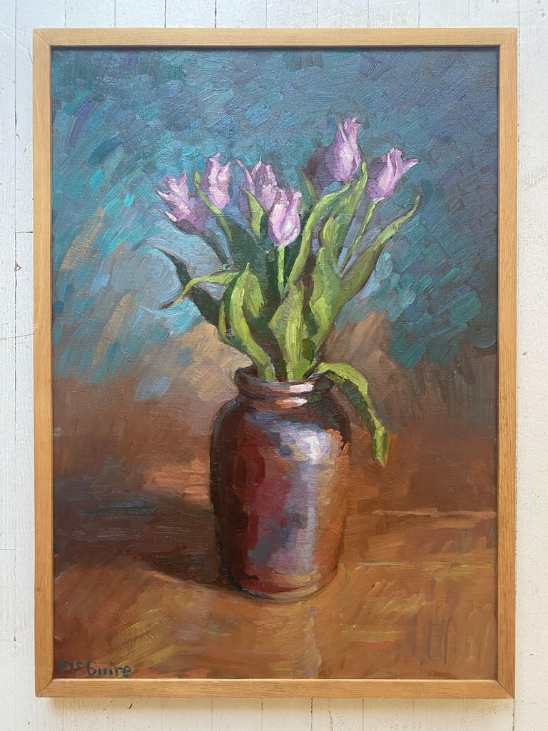 Tulips in Brown Vase - Painting by Tim McGuire