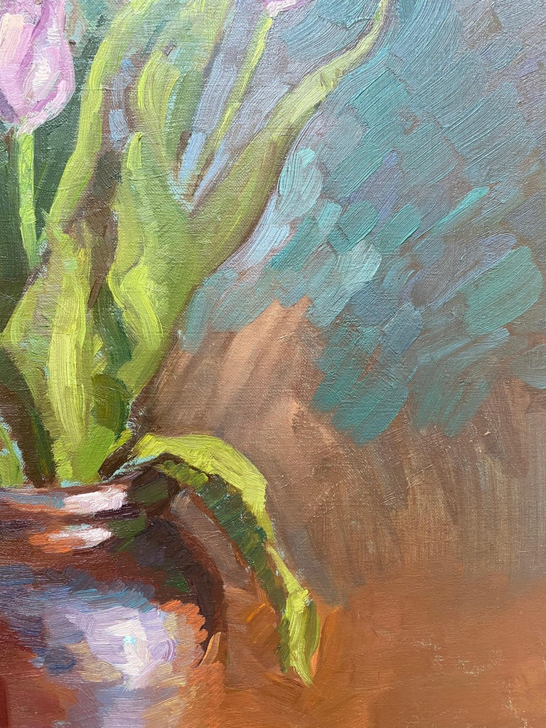 Tulips in Brown Vase For Sale 6