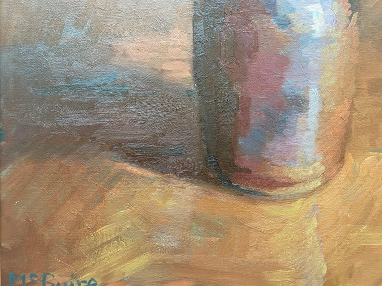 Tulips in Brown Vase - Gray Still-Life Painting by Tim McGuire
