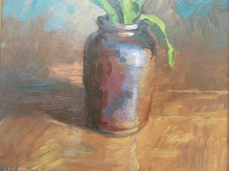 Tulips in Brown Vase For Sale 2