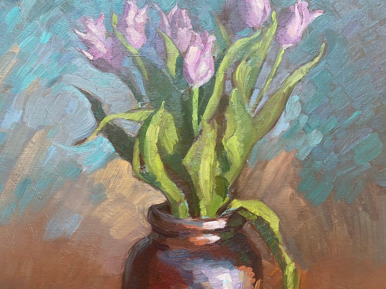 Tulips in Brown Vase For Sale 3
