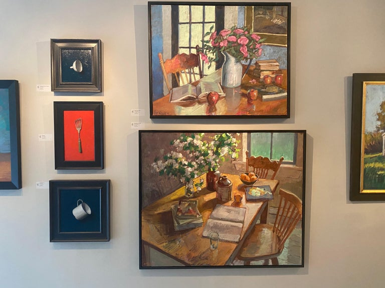 Blossoms and Books - Brown Still-Life Painting by Tim McGuire