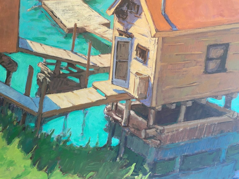 Framed dimensions: 74.93 x 86.75 inches  A large scale oil painting of a harbor of fishing shacks, seen from above, in Nova Scotia.   Tim McGuire Born in 1971, Tim McGuire grew up in Buffalo, NY.  After teaching kindergarten in Los Angeles for 10