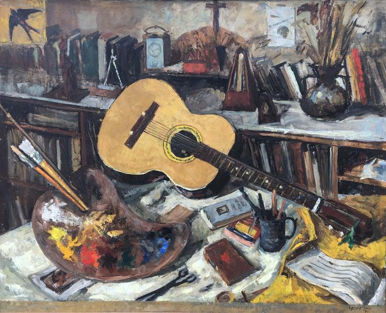 Gerald Davis Figurative Painting - Still Life With Guitar