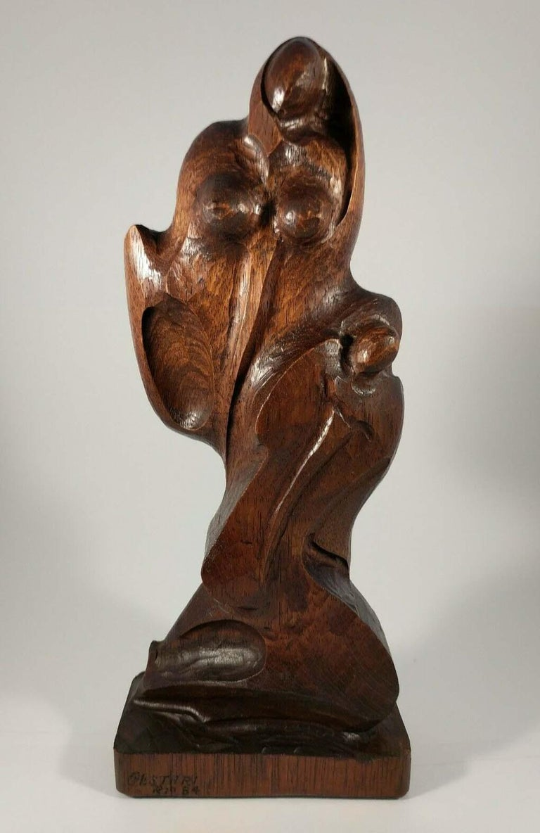 """CESTARI  """"THE DREAM""""  WOOD, SIGNED  BRAZIL, DATED 1984  14 INCHES     Cestari is a Brazilian sculpture, if worked in mainly in wood in a moderan and abstratct style. It is believed he lives in Europe as of 2019.  His first personal exhibition was in"""